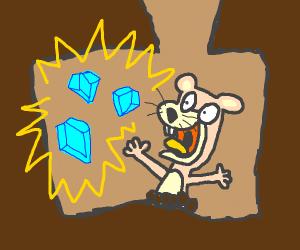 Weird gopher thing finds three diamonds