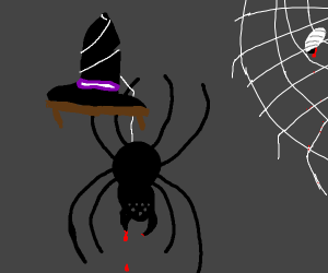 Massive spider descends from a witches' hat