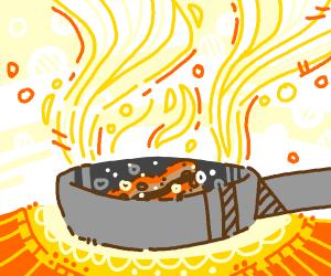 Bacon in a frying pan