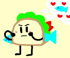 A fish loves a taco