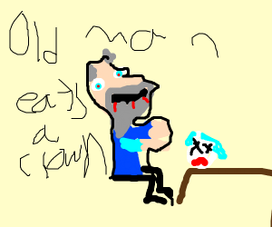 Old man eats a clown