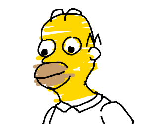 Homer Simpson with scribbled skin