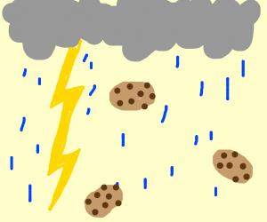 Raining cookies w/chocolate center