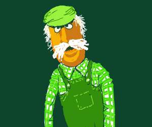 yellow muppet farmer in green overalls