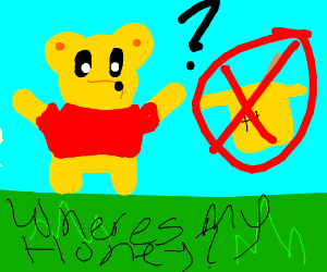 Pooh Bear wonders where his honey is