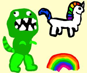 dinosaur unicorn and rainbow