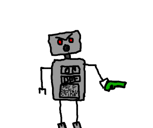 Angry robot with a green gun