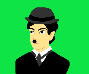 man with tie, bowler hat and Hitler mustache