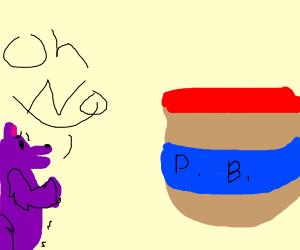 Furry is afraid of peanut butter