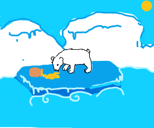 Cute Polar Bear Eating honey stranded on Ice