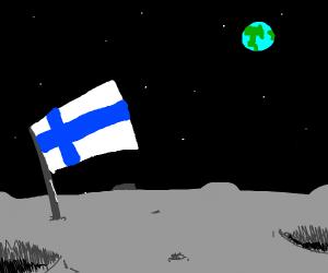 Finnish flag on Moon