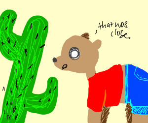Humanoid camel barely avoids cactus