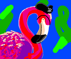 Flamingo impersonating a pirate