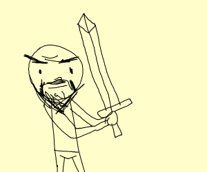 old dude with a sword.