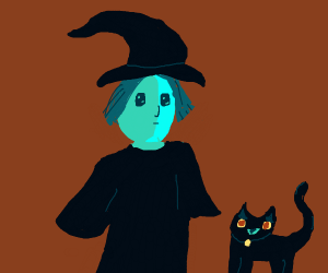 Androgenous witch and spooky Black Cat