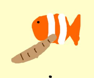 Clown fish holding a wooden baseball bat