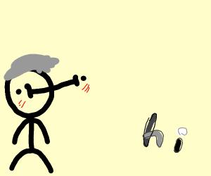 Blushing kid with grey hair