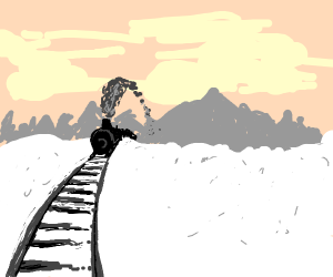 train coming from the horizon @ winter