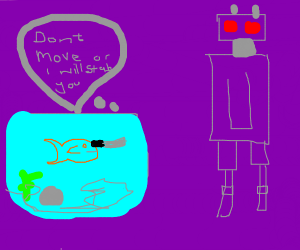 Gold fish threatens robot with a knife