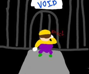 Wario knocking on the gate to the void