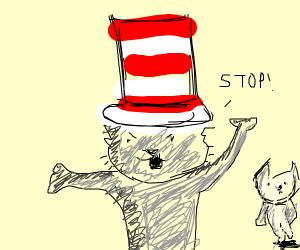Cat n the Hat yells at a rat