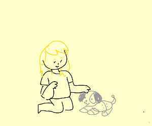 Girl sitting on knees and petting robot dog