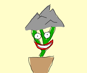 A laughing plant w/ a mountain on top