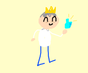 old man wearing a crown holding thumbs up