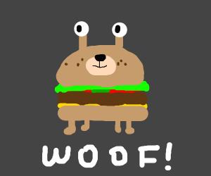 hamburger dog with antenna eyes