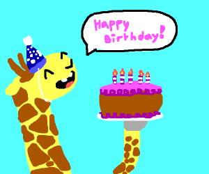 Giraffe wishes happy birthday