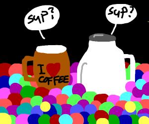 Coffee Mug Talking to Milk Jug in a ball pit