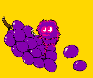 A tiny purple monster eating some grapes