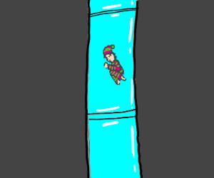 Sleeping while sliding down the tube