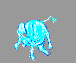 Glass cow licks himself
