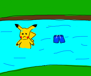 Pikachu loses his swim trunks in the water