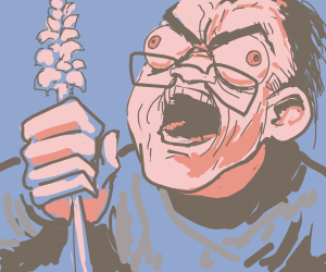Screaming man holds a snapdragon flower