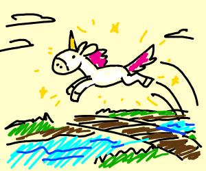 A unicorn jumping over a bridge