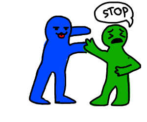 Blue person makes green person uncomfortable
