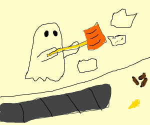 Ghost hates shoveling snow