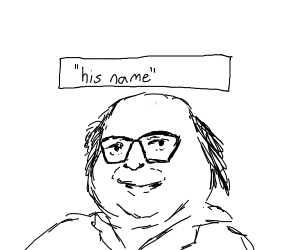 Danny DeVito with his name floating above him