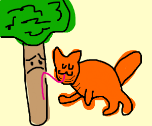 fat UwU cat licks tree