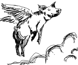 Winged boar soaring through the skies