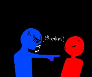 blue man threatens red man