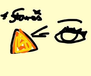 a dorrito staring at a tearing eye