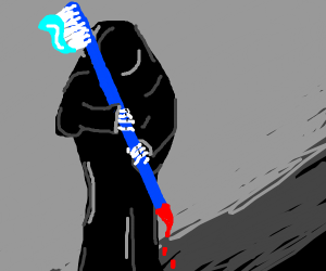 grim reaper has a scary toothbrush