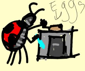 A ladybug cooking bekfast(Moosecraft referenc