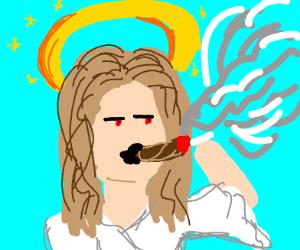God smoking a blunt