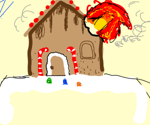 Melting gingerbread house