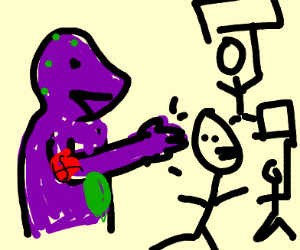Racist Barney Punches Protesters