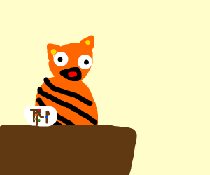 garfield eating syrup maker with m&ms & flys